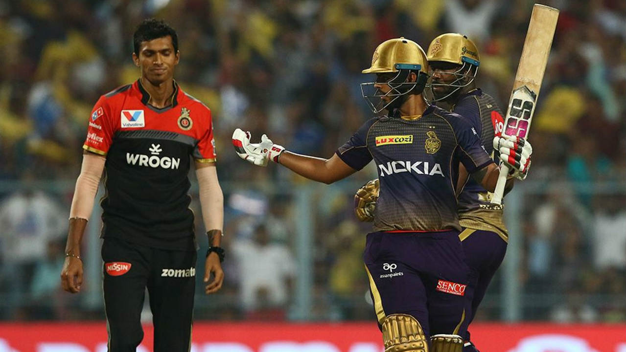 Andre Russell and Nitish Rana then changed gears quickly as they began tearing into the RCB bowling attack. Rana brought up his fifty off just 33 balls in the 16th over. Later, Russell brought up his half-century off just 21 balls. Russell's fifty was the second fastest in IPL 2019. (Image: BCCI, iplt20.com)