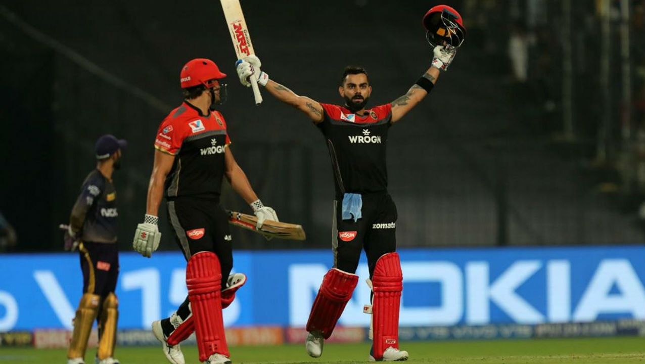 Kohli and Marcus Stoinis then added 64 off the final 24 balls to help RCB to a monster total. Skipper Kohli brought up his maiden IPL 2019 century with a boundary before getting caught out on the final ball. Kohli finished with 100 off 58 balls as RCB posted 213/4. (Image: BCCI, iplt20.com)