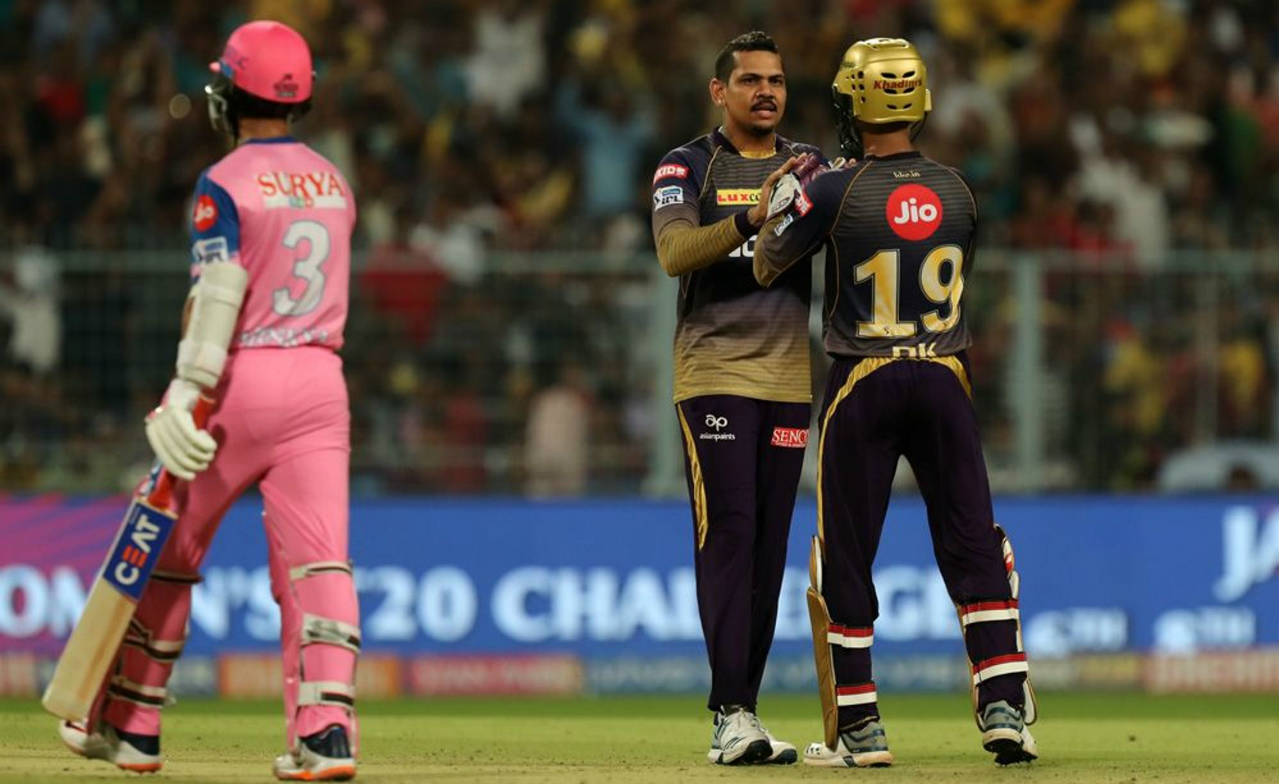 Ajinkya Rahane and Sanju Samson got Rajasthan off to a great start adding 53 runs off just 32 balls for the first wicket. Sunil Narine then provided the breakthrough as he trapped Rahane plumb in front of the wickets in the 6th over. (Image: BCCI, iplt20.com)