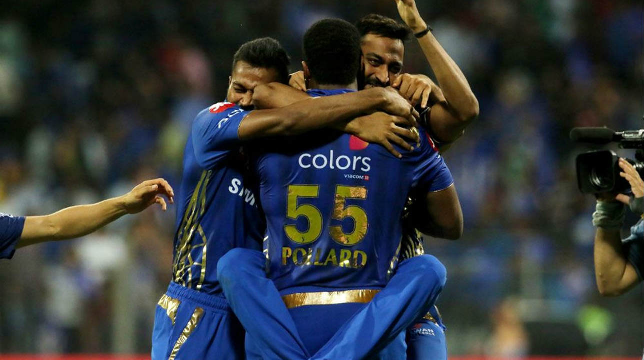 The Pandya brothers celebrate with Pollard after the thrilling victory. (Image: BCCI, iplt20.com)