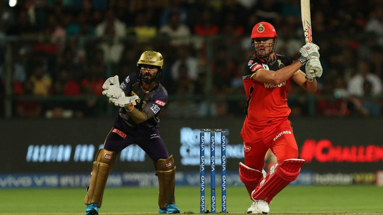 de Villiers was next to depart as Sunil Narine struck in the penultimate over getting the South African caught at long-off. de Villiers finished with 63 off 32 balls. Marcus Stoinis played a nice little cameo finishing unbeaten with 28 off 13 as RCB reached 205/3 at the end of 20 overs. (Image: BCCI, iplt20.com)