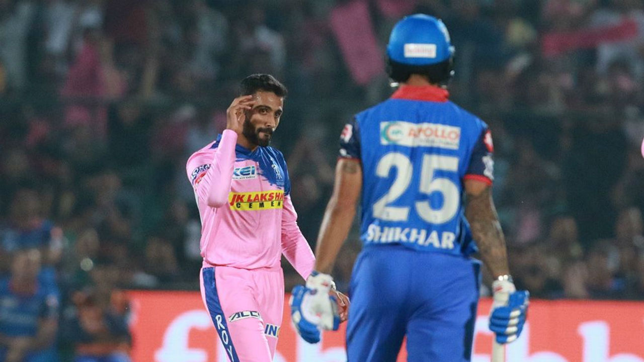 RR spinner Shreyas Gopal got Dhawan stumped in the 8th over and soon got rid of Shaw as Delhi were reduced to 77/2.