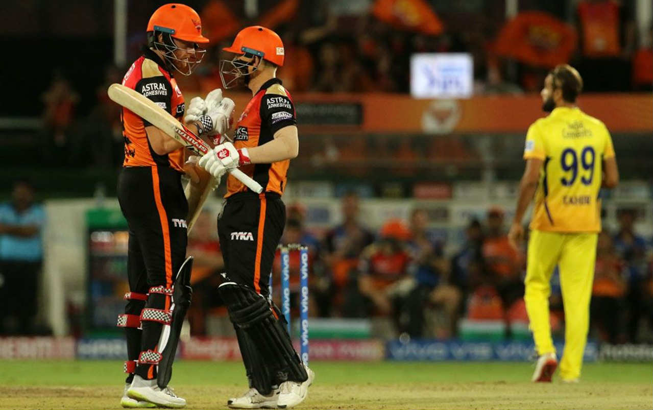 The Sunrisers' chase got off to a blistering start as David Warner and Jonny Bairstow added 66 runs for the first wicket. Warner who did the bulk of the scoring departed soon after completing his half-century in the 6th over. He returned having scored 50 off just 25 balls. (Image: BCCI, iplt20.com)