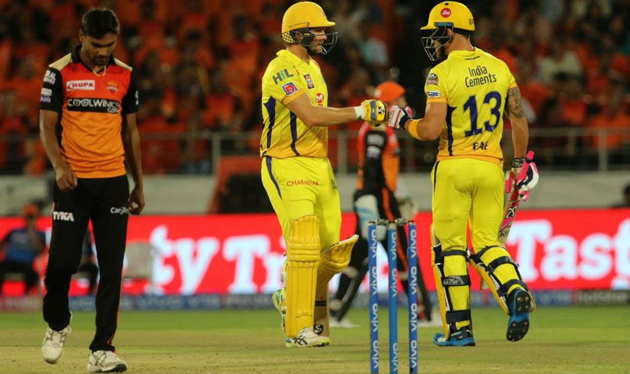 Faf du Plessis and Shane Watson got Chennai off to a good start adding 79 runs off 59 balls for the opening wicket. (Image: BCCI, iplt20.com)