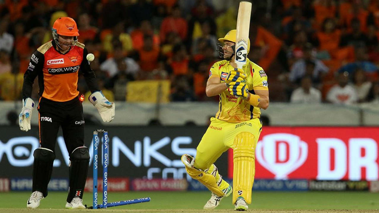 Sunrisers finally got the breakthrough in the 10th over when Shahbaz Nadeem castled Watson. Vijay Shankar then got du Plessis caught behind in the very next over. With both openers back in the hut Chennai were reduced to 81/2. (Image: BCCI, iplt20.com)