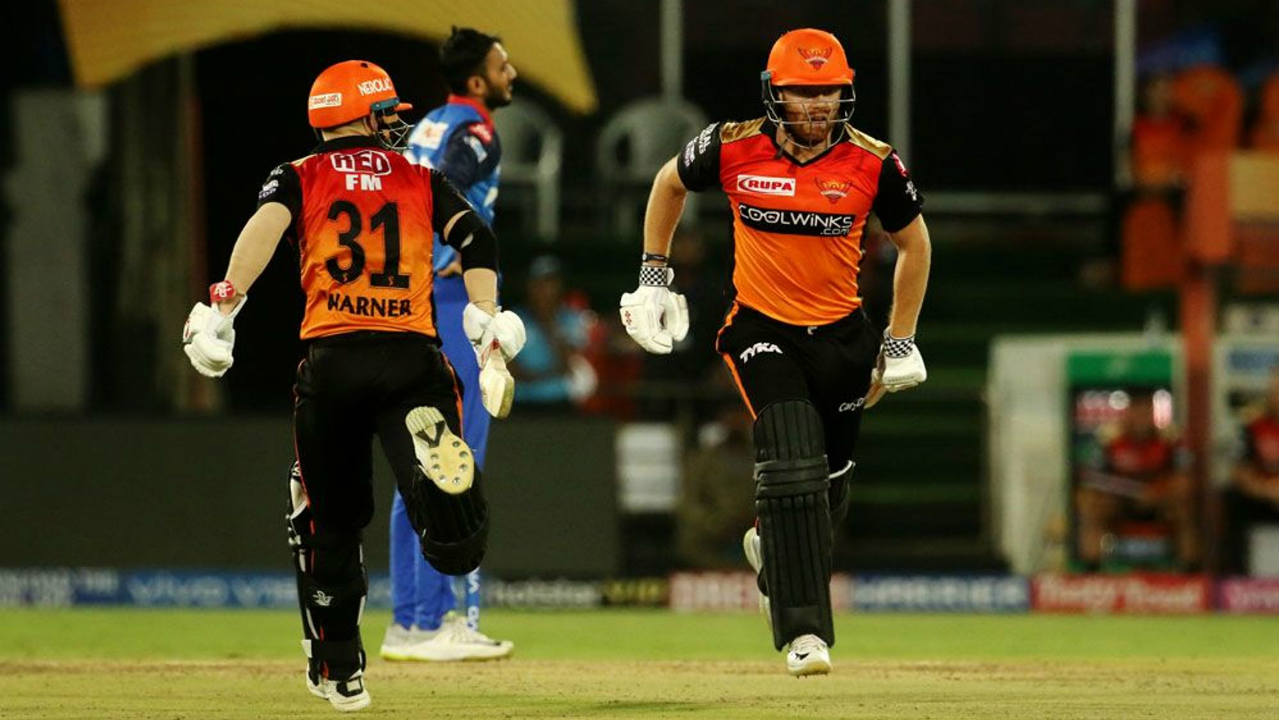 SRH opening pair of David Warner and Jonny Bairstow got their team off to a good start with a 72-run partnership off 60 balls. The partnership was finally broken in the 10th over by Keemo Paul who got Bairstow caught out at long-off by Kagiso Rabada. Bairstow returned with 41 off 31 balls. (Image: BCCI, iplt20.com)