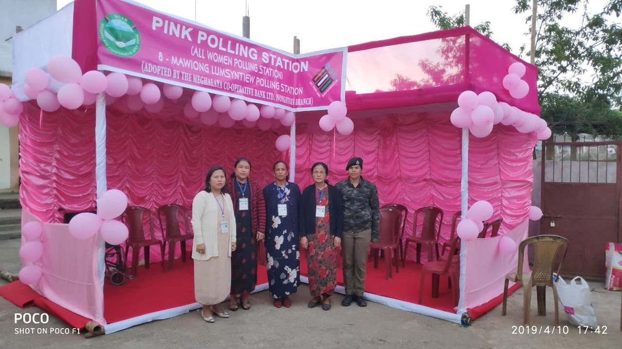 All Women Polling Station or Pink Polling Booth set up in Meghalaya. Voting is underway in two Lok Sabha seats in the state. (Image: Twitter/@ceomeghalaya)