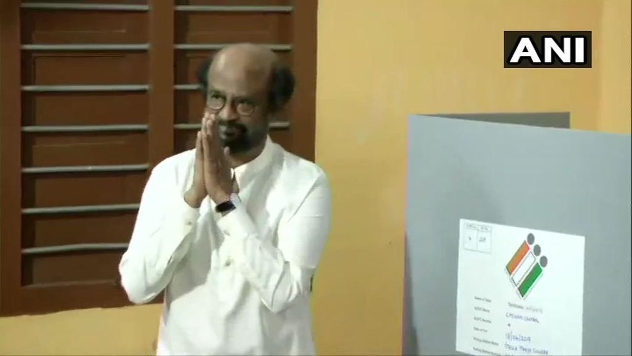 Actor turned politician Rajinikanth cast his vote at the polling station in Stella Maris College in Chennai Central parliamentary constituency, Tamil Nadu. (Image: Twitter/@ANI)