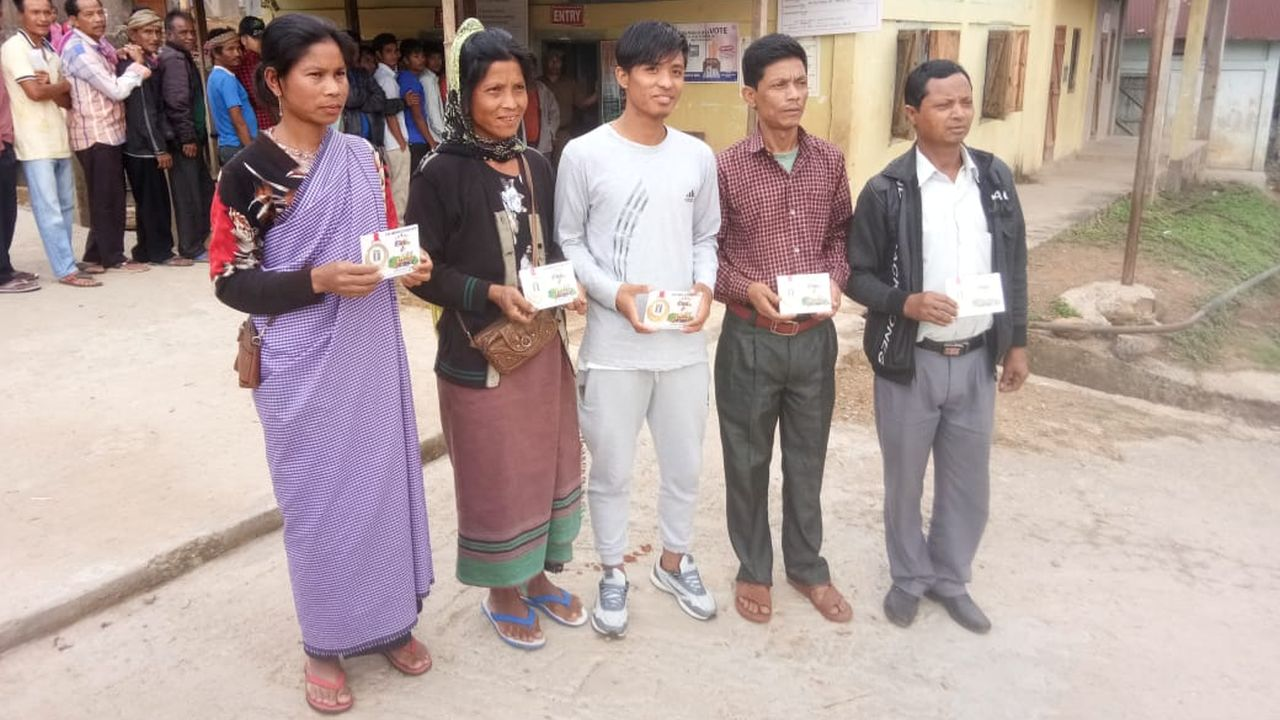 First five voters in Meghalaya's Shillong received First to Vote medals. All the two seats in the state are going through polling in the first phase on April 11. (Image: Twitter/@SpokespersonECI)