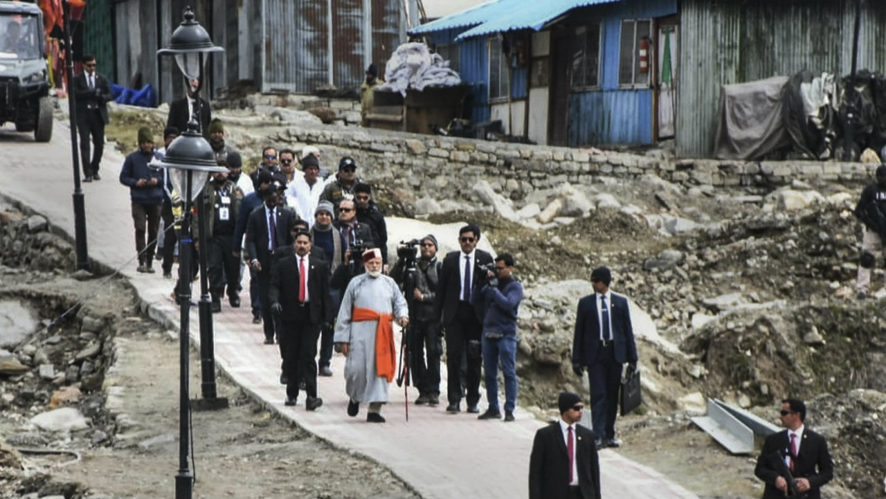 Prime Minister Narendra Modi arrives at Kedarnath, for this two day pilgrimage to Himalayan shrines, in Rudraprayag district on May 18. (Image: PTI)