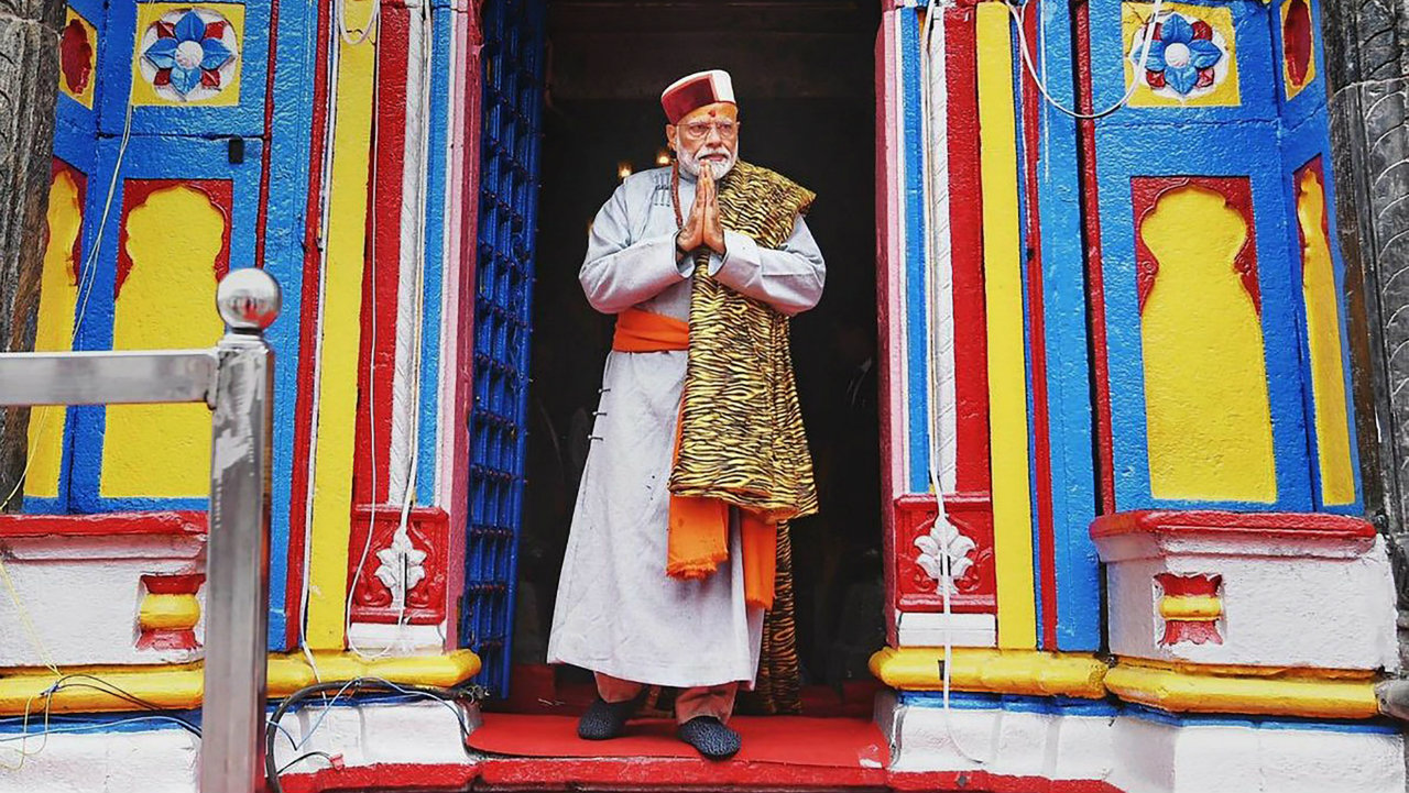 The prime minister after paying obeisance at the Kedarnath Temple in Rudraprayag district, Uttarakhand on May 18. (Image: PTI)