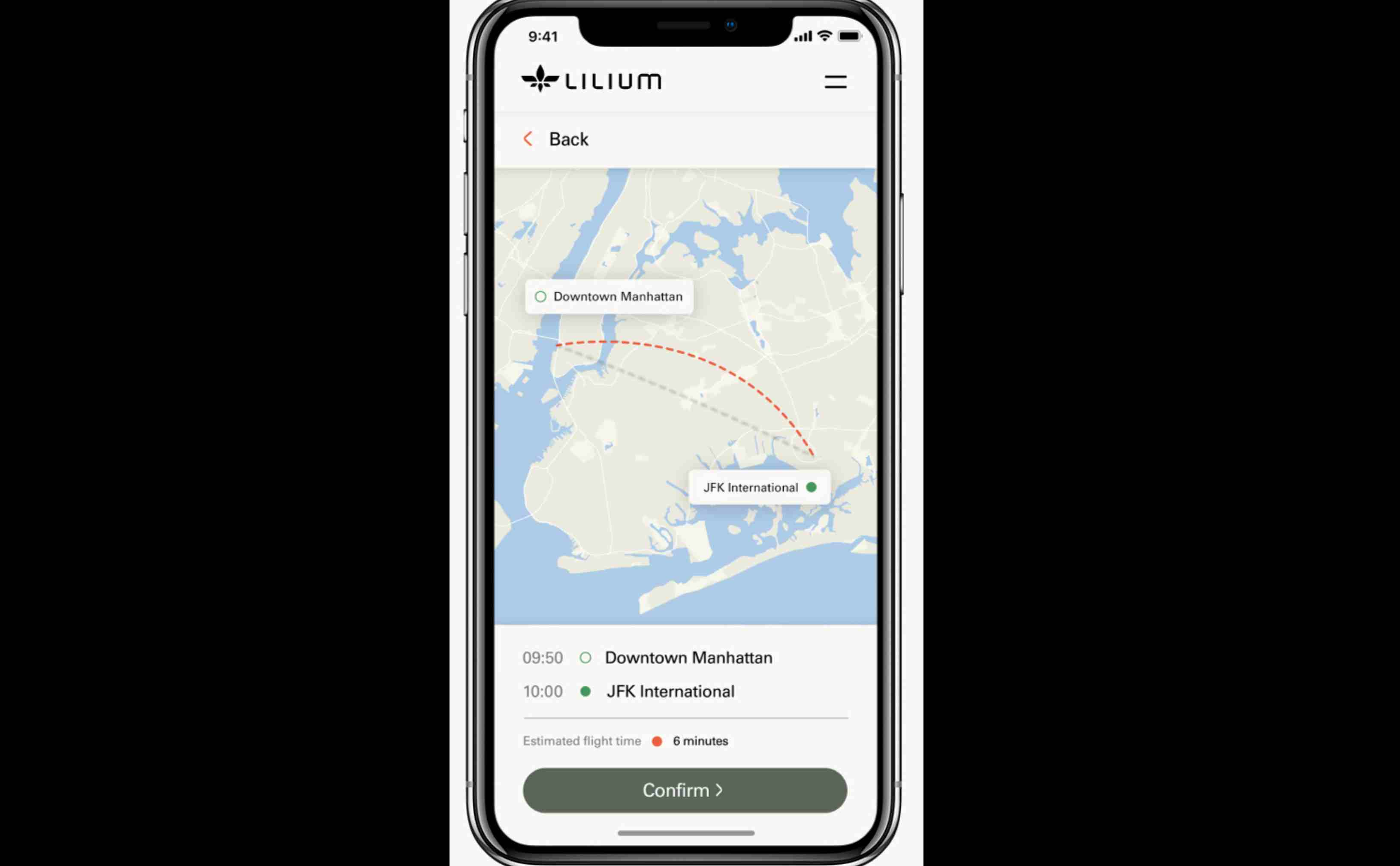 Though the company has not begun commercial production yet, it is developing a smartphone app which can be used to hail Lilium's services as a taxi. (Image: Lilium)