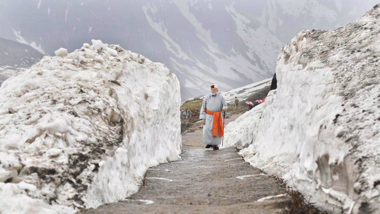 PM Modi in Kedarnath after paying obeisance at the Himalayan shrine on May 18. (Image: PTI)
