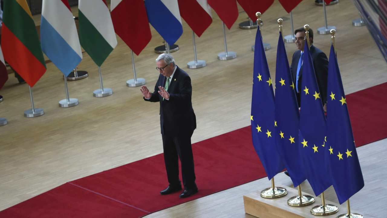 European Commission President Jean-Claude Juncker arrives for an EU summit in Brussels. European Union leaders are meeting in Brussels to haggle over who should lead the 28-nation bloc's key institutions for the next five years after weekend elections shook up Europe's political landscape.