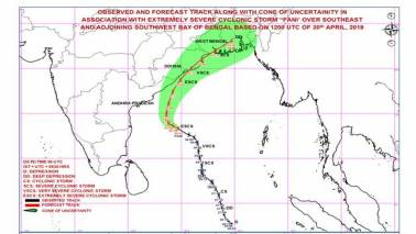 'Extremely severe' cyclone 'Fani' to hit south of Puri Friday: NDMA