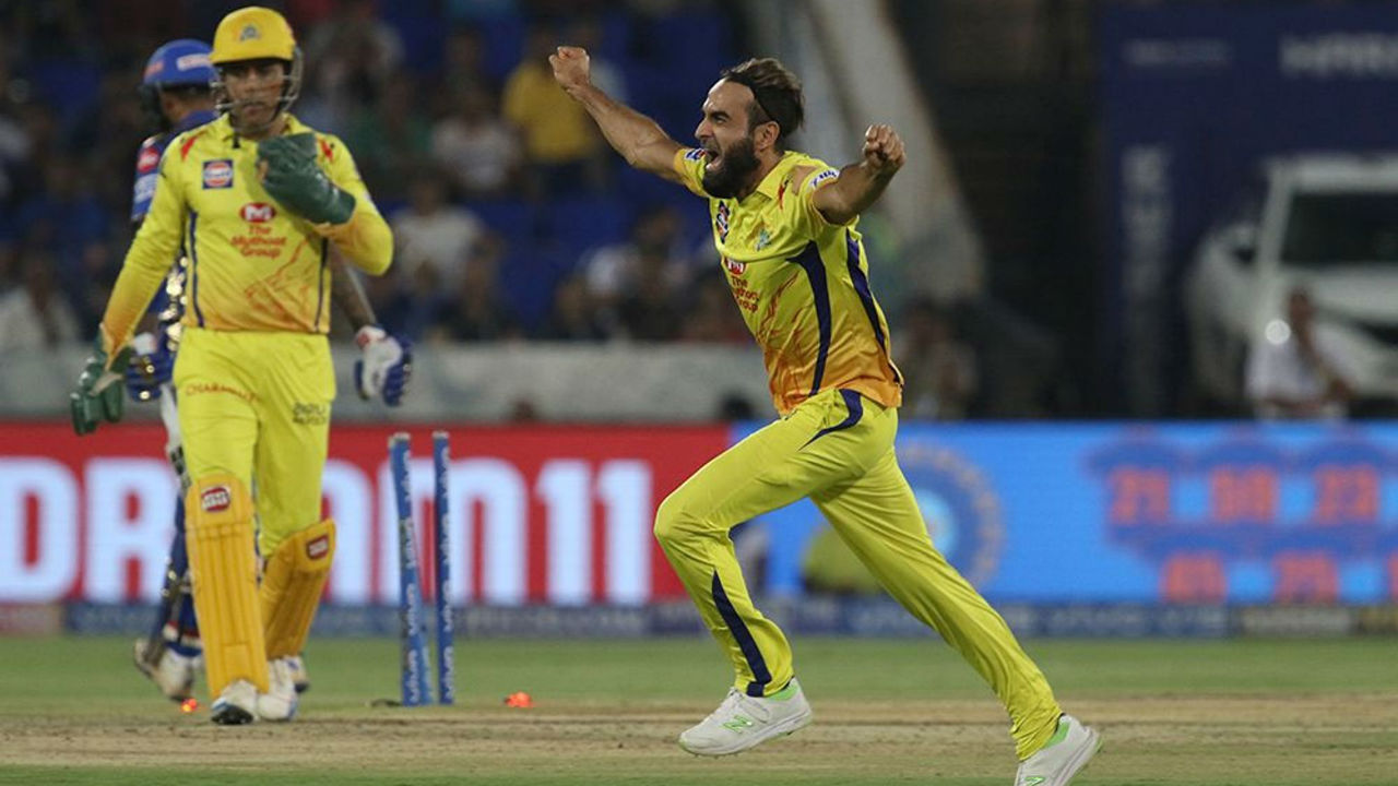 Tahir burst into his trade mark celebratory sprint when he dismissed Kishan in the 15th over. Kishan's wicket took Tahir to the top of the wicket taking charts. MI were struggling 101/5.