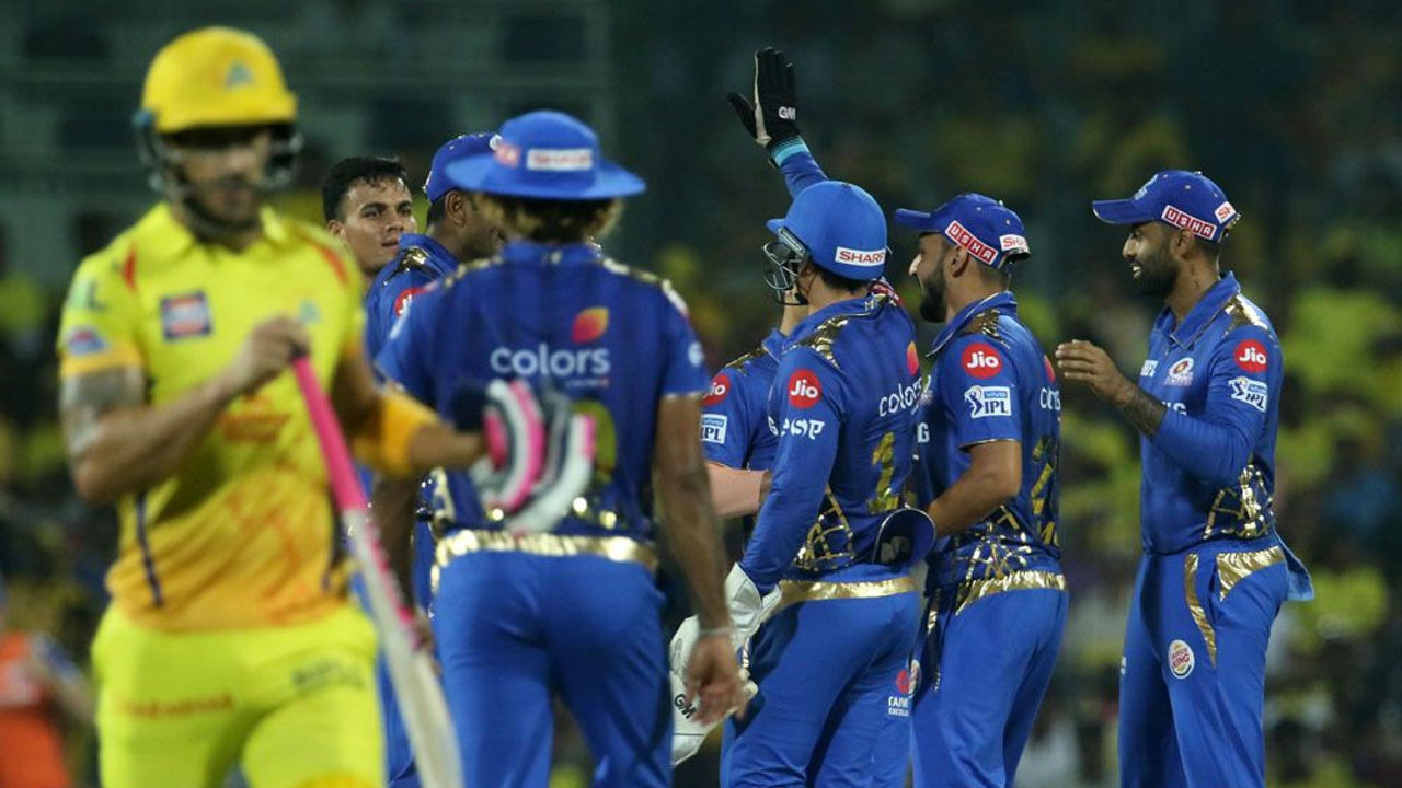 On a slow track, MI were off to a strong start as they dismissed CSK opener Faf du Plessis and No.3 batsman Suresh Raina inside first 4 overs. du Plessis made mere 6 while Raina scored 5 as CSK were struggling at 12/2.