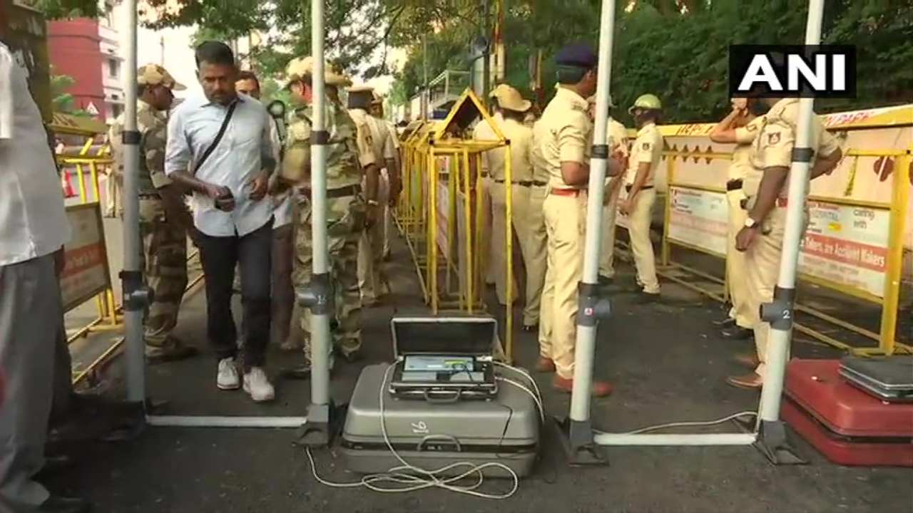 High security is seen outside a counting centre in Karnataka. (Image: ANI)