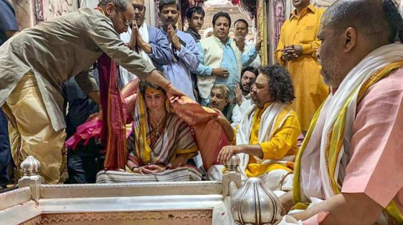 This year, Rahul's sister Priyanka Gandhi also took the political plunge and was appointed as the party general secretary for Uttar Pradesh (East). This is a photograph from her visit to the popular Kashi Vishwanath Temple in Varanasi. (Image: PTI)