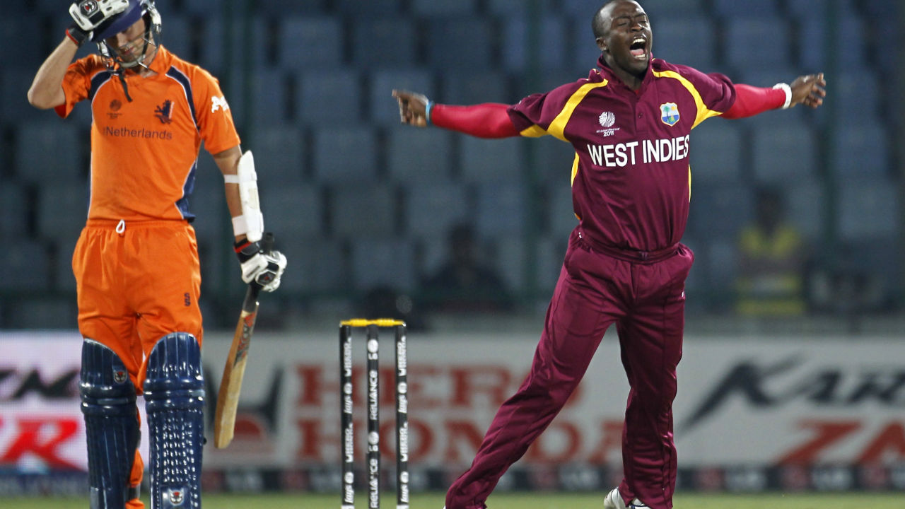 <strong>2011 World Cup</strong> | Kemar Roach of West Indies bowled a devastating spell of 6/27 against the Netherlands in Delhi. It was the best bowling performance of the tournament. (Image: Reuters)