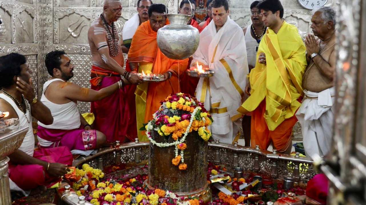 Even though, Rahul puts up quite a few pictures of his temple visits around the year, those ahead of the elections get more eyeballs. The next big political event was the Assembly Polls in the Hindi heartland states of Madhya Pradesh, Chhattisgarh, Rajasthan in November 2018. Here Rahul is seen Mahakaleshwar temple in Madhya Pradesh ahead of the assembly elections in the state. (Image: Twitter/@INCIndia)