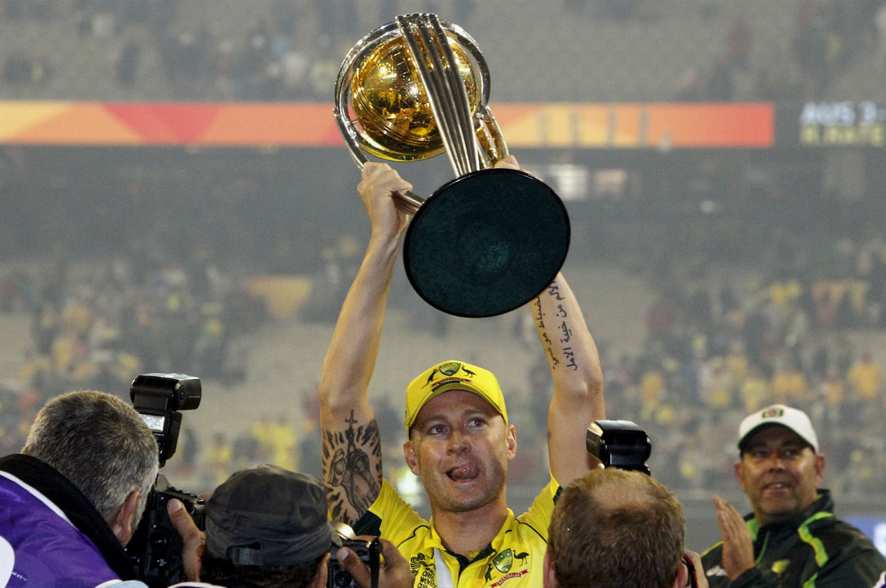 Michael Clarke (2015) | Australia became the World Champions for the fifth time when they overpowered neighbors and rivals New Zealand in the final of the ICC Cricket World Cup 2015 played at Melbourne Cricket Ground. On this occasion, Michael Clarke joined the likes of Allan Border, Steve Waugh and Ricky Ponting to guide the Kangaroos to World Cup glory.