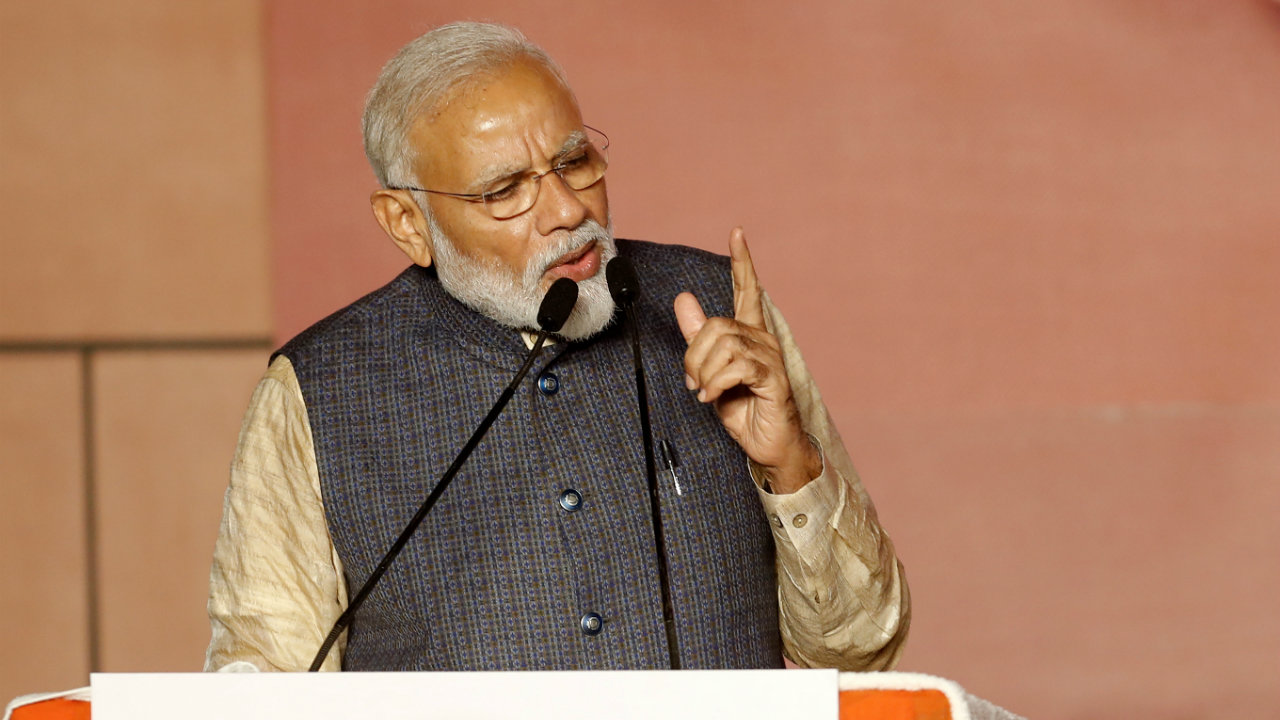 PM Modi delivers his victory speech at the BJP headquarters in New Delhi. (Image: Reuters)