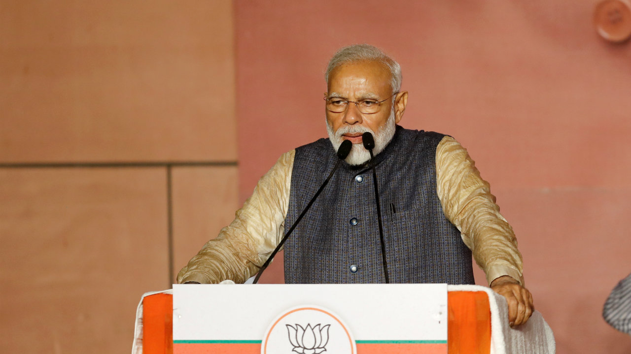 """PM Modi while delivering his victory speech. """"Such profound mandate will baffle the world,"""" PM Modi said during his speech. (Image: Reuters)"""