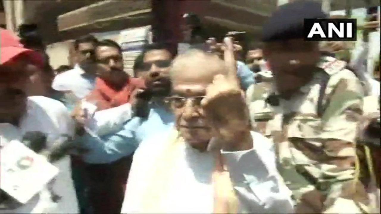 Senior BJP leader Murli Manohar Joshi after casting hid vote in Varanasi, Uttar Pradesh. (ANI)