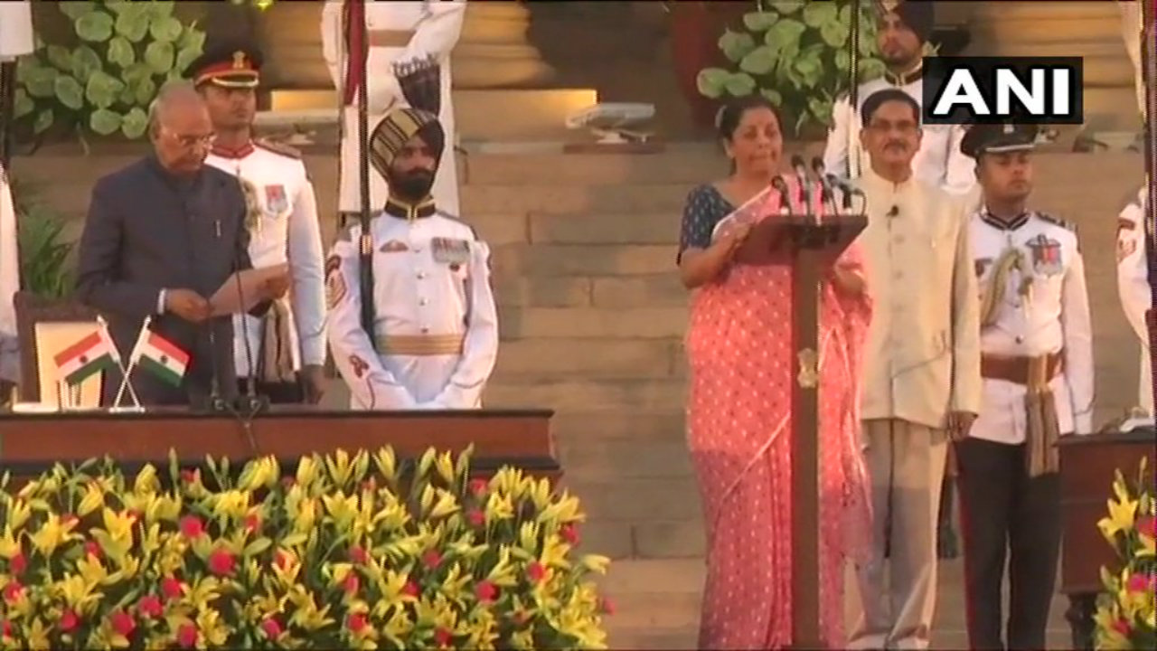 Defence Minister in the previous Cabinet, Nirmala Sitharaman takes oath. (Image: ANI)