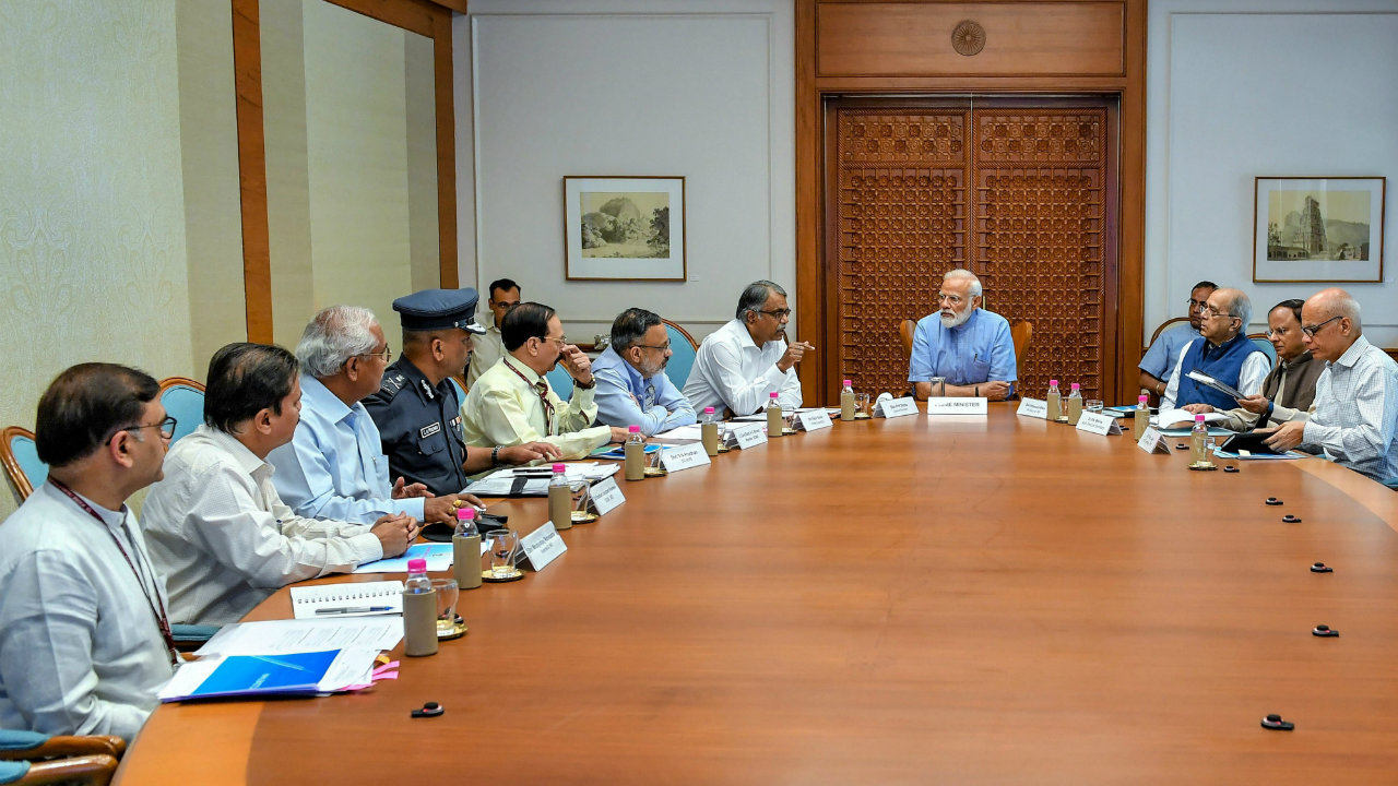 Prime Minister Narendra Modi chaired a high-level meeting in Delhi to review preparedness for Cyclone Fani. (Image: PTI)