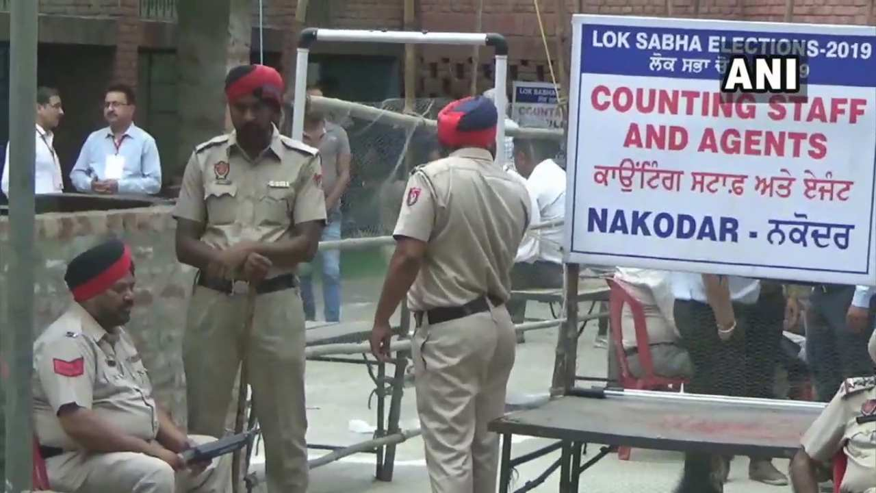 Tight security is seen outside a counting venue in Punjab. (Image: ANI)