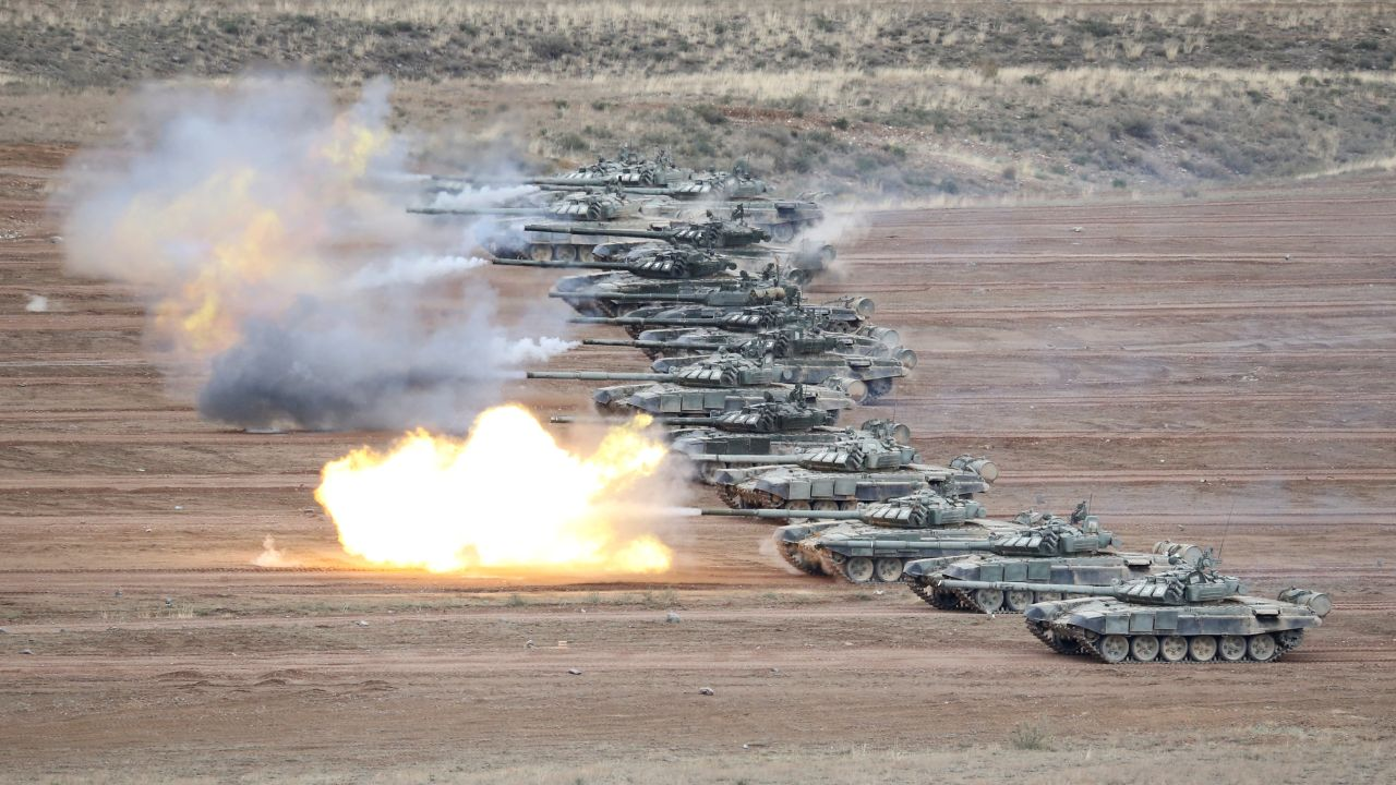T-72B tanks fire during military exercises at the firing ground Koktal in Almaty Region, Kazakhstan. (Image: Reuters)