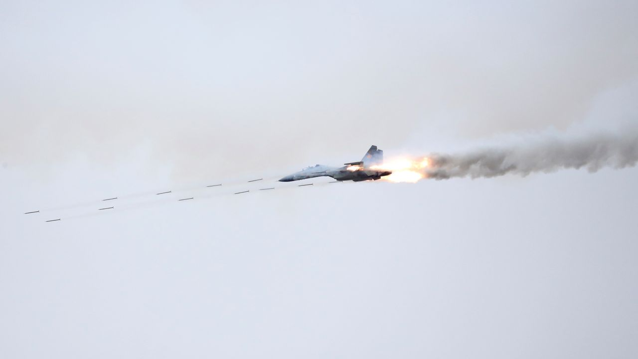 A Sukhoi Su-30 SM jet fighter fires during military exercises at the range Koktal in Almaty Region, Kazakhstan. (Image: Reuters)