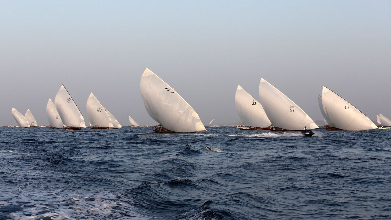 Teams compete in the 29th annual dhow sailing race, known as The Gaffal, near Sir Bu Nuayr Island, UAE. (Image: Reuters)