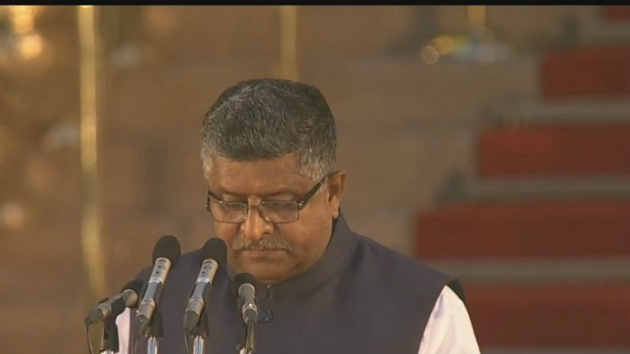 Outgoing Law and Justice minister Ravi Shankar Prasad re-inducted in ministry. (Image: DD National)