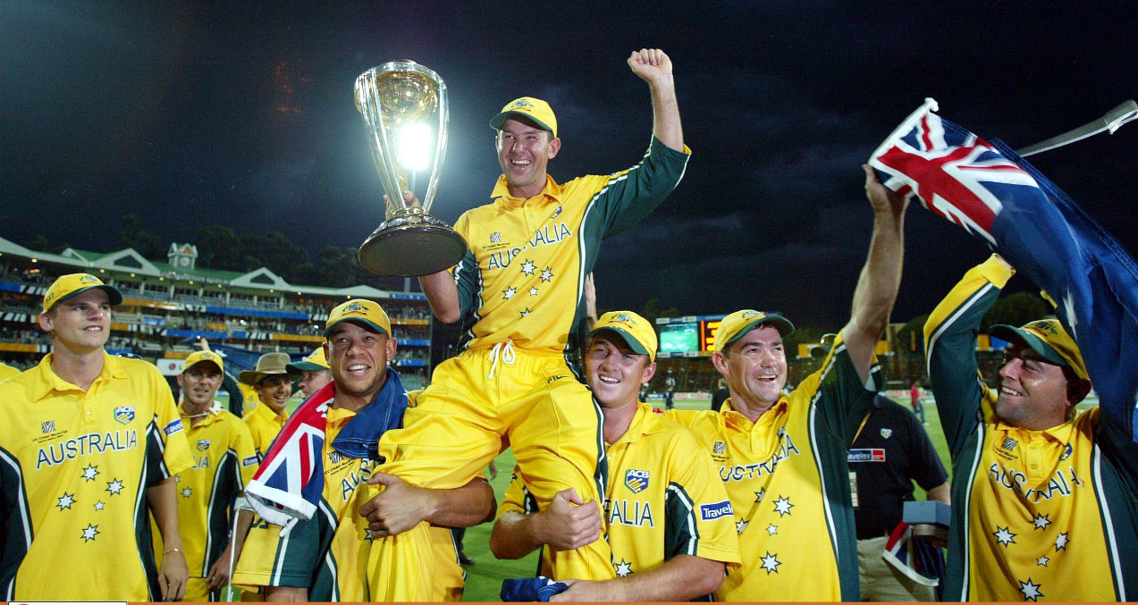 Ricky Ponting (2003) | ICC Cricket World Cup reached the South African shores for the first time in 2003. In the final played between Ricky Ponting's Australia thrashed Saurav Ganguly's India as Australia became the first team to be crowned champions three times.