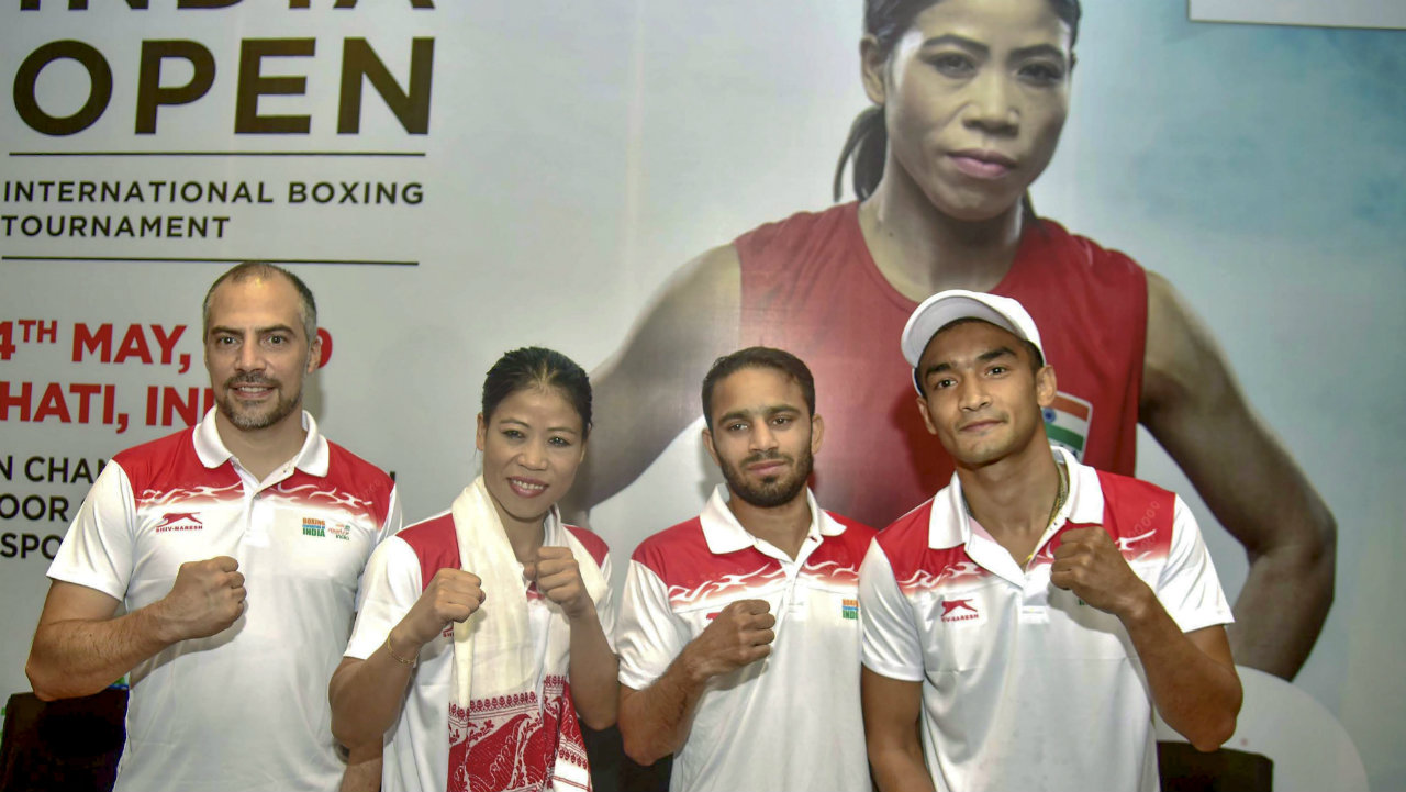 India's high-performance director Santiago Nieva, boxers Mary Kom, Amit Panghal and Shiva Thapa pose for a photograph during a press conference of 2nd India Open International Boxing Tournament, in Guwahati. (Image: PTI)