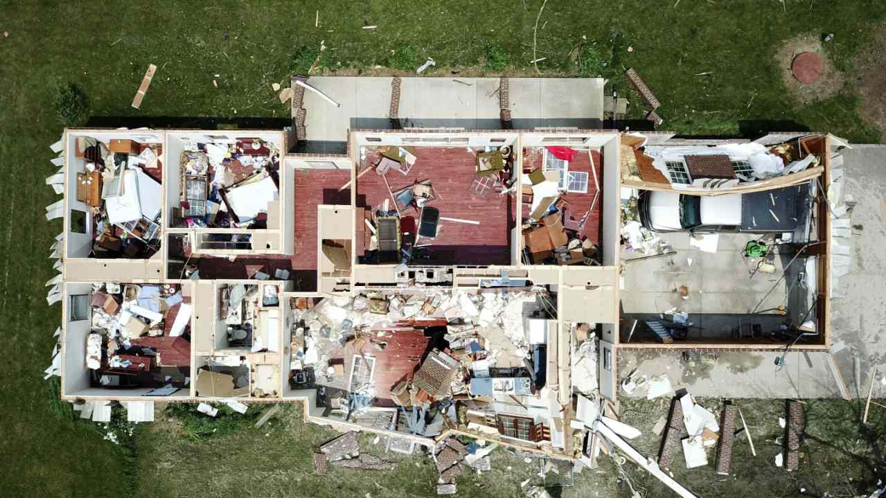 a home west of Celina, Ohio, has had its roof torn off by a tornado that was part of a storm system that passed through Monday night. After Monday s tornadoes, Ohio Gov. Mike DeWine declared a state of emergency in the three counties with the most damage. (Image: AP)