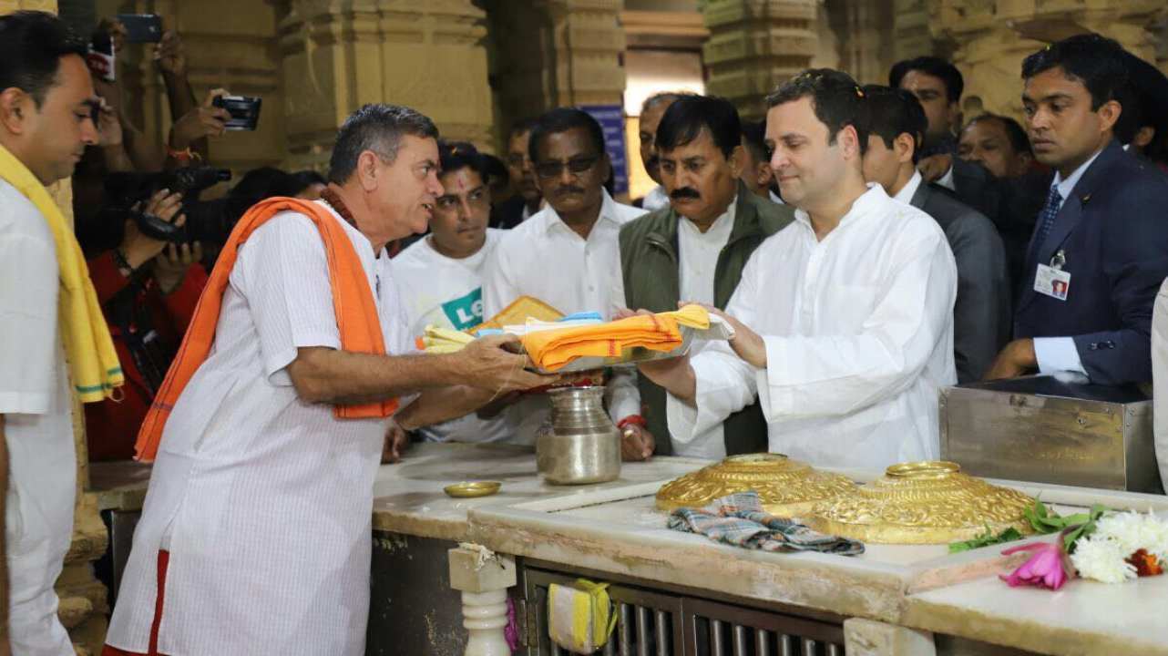 Rahul Gandhi was made the president of the Congress party just ahead of the Gujarat Assembly in December 2017. With chief Gandhi facing his first challenge, he kicked off his campaign (and many controversies) by visiting the famous Somnath Temple in Gujarat. (Image: Twitter/@INCIndia)