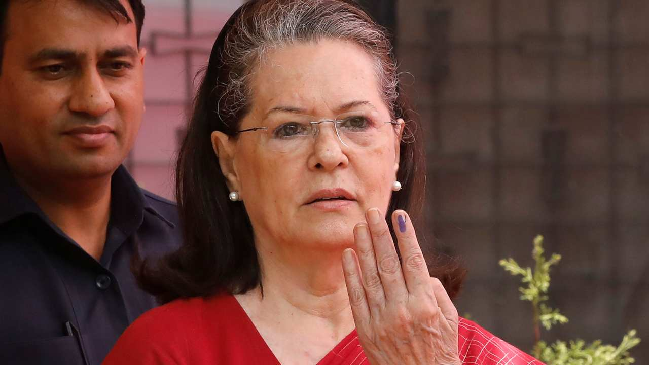 UPA Chairperson Sonia Gandhi casts her vote in New Delhi. (Image: Reuters)