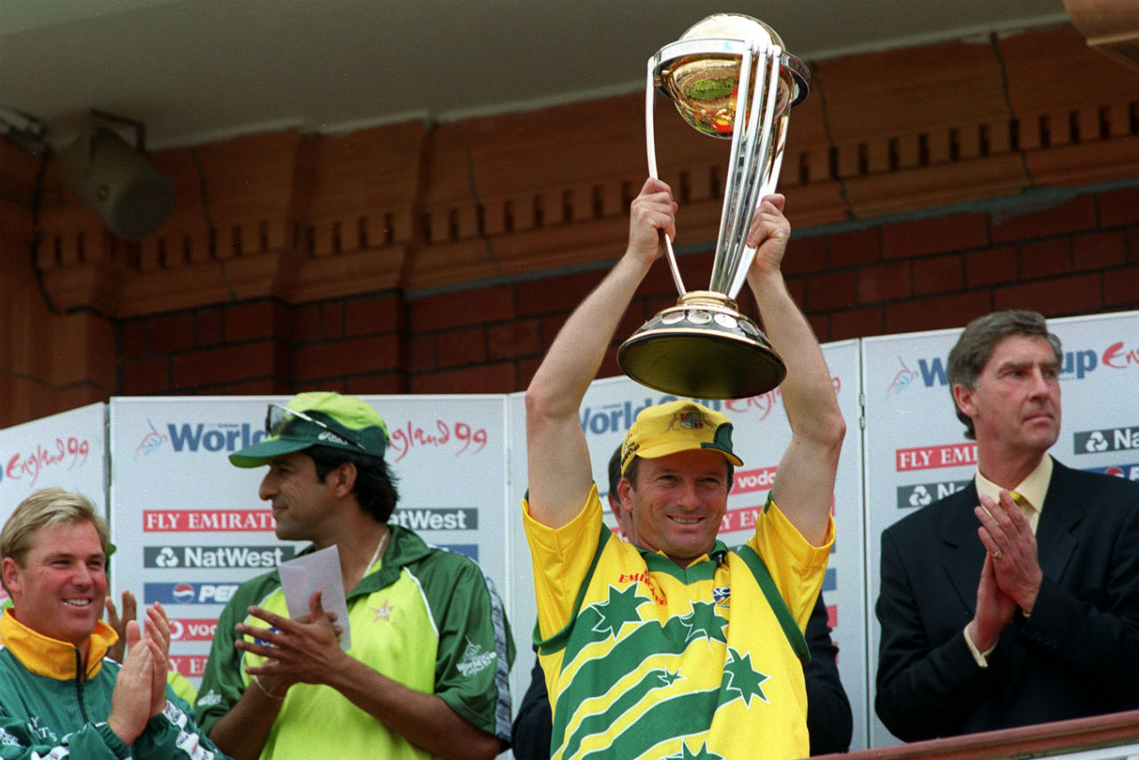 Steve Waugh (1999) | 1999 Cricket World cup saw the beginning of unprecedented dominance by Australia. The team from Down Under won three consecutive World Cups starting 1999. It was Steve Waugh who lifted the ICC Cricket World trophy at Lord's defeating Pakistan in the final.