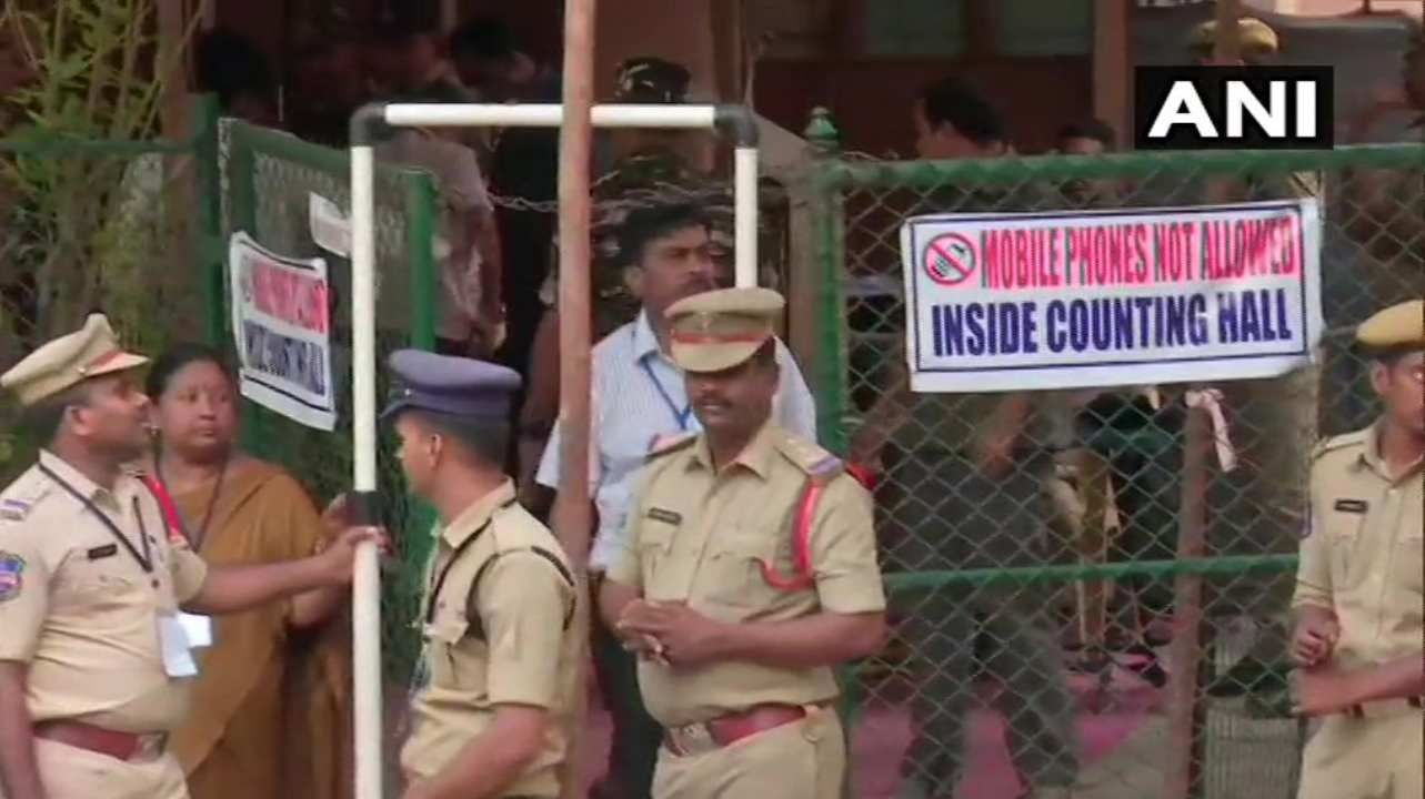 Visuals outside a counting centre in Telangana. (Image: ANI)
