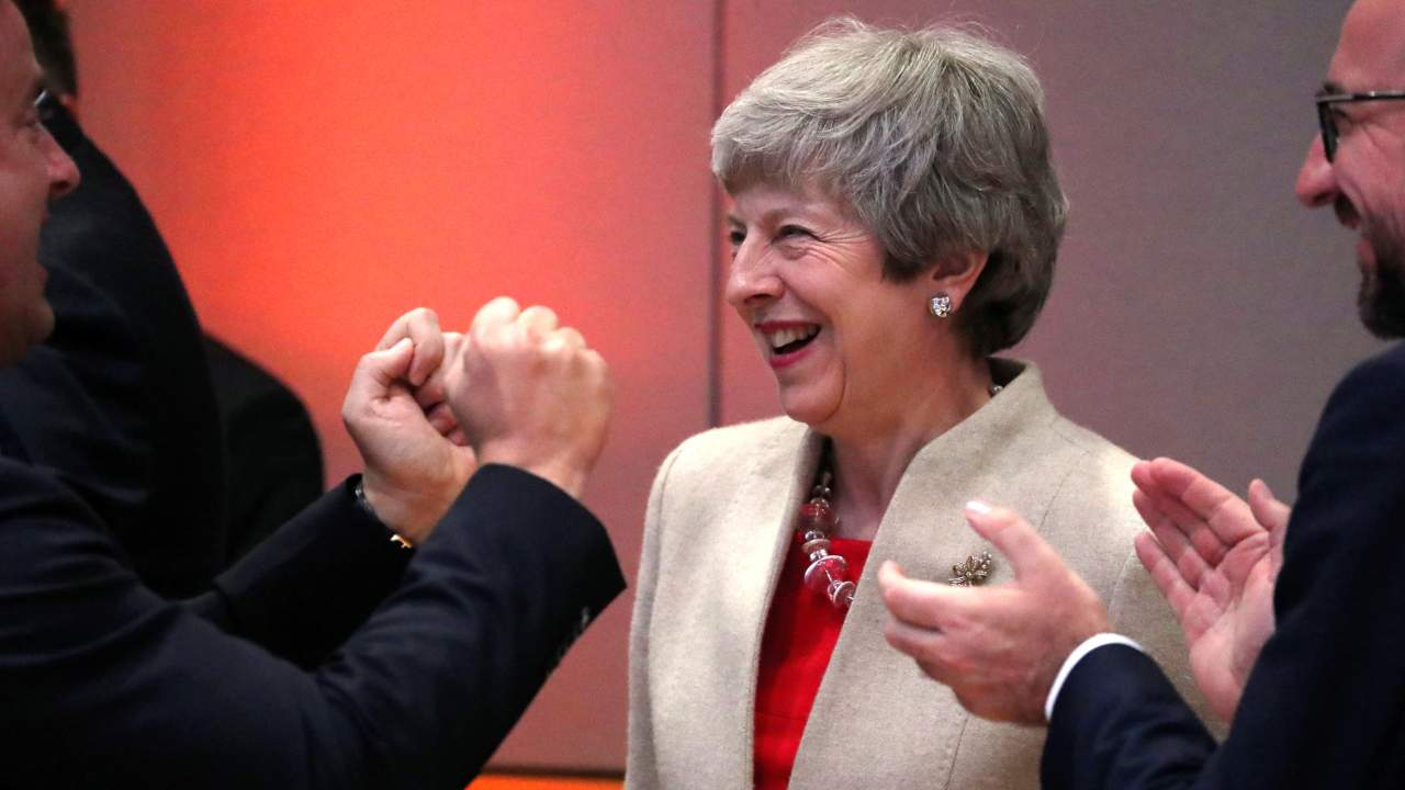 Luxembourg's Prime Minister Xavier Bettel, Britain's Prime Minister Theresa May and Belgium's Prime Minister Charles Michel take part in a EU summit following the EU elections, in Brussels, Belgium. (Image: Reuters)