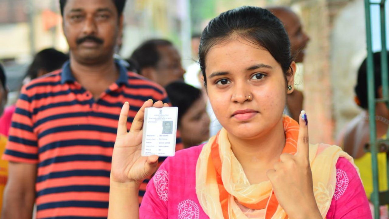 A woman after casting her vote at a polling station in West Bengal. (Image: PIB)