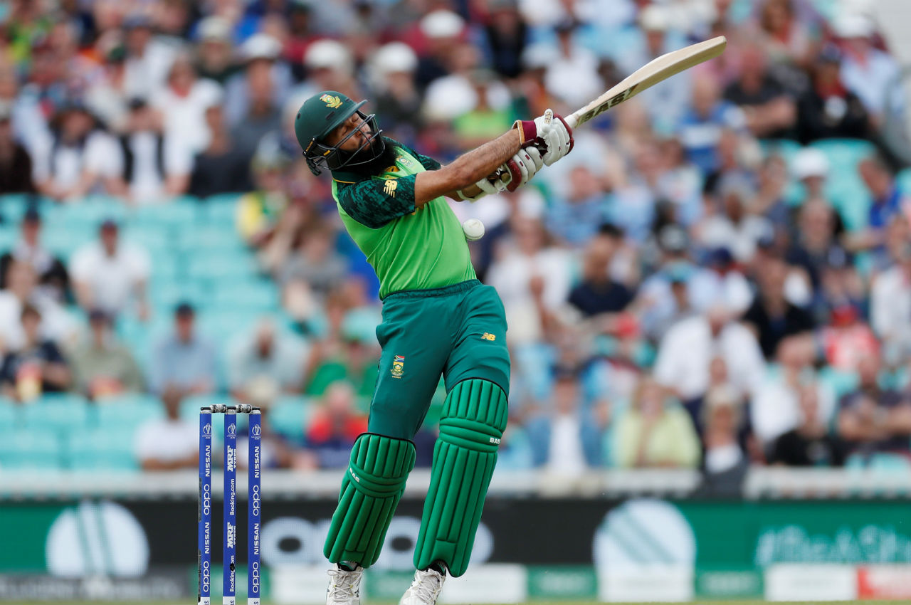 South Africa's chase began on a wrong note as a bouncer from English pacer Jofra Archer hit Hasim Amla on the helmet and the opener had to leave the action in the middle with a slight injury scare. South Africa were 14/0 when Amla walked back to the dressing room. (Image: Reuters)