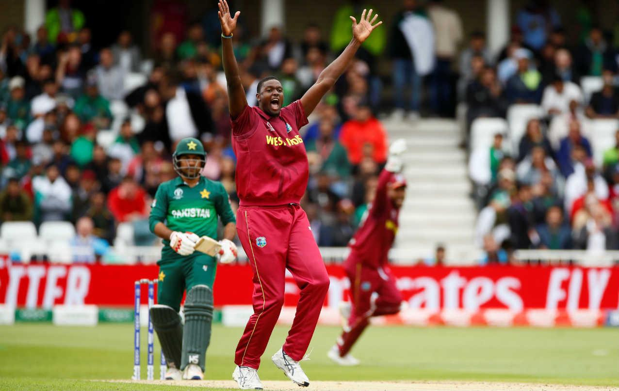 Windies skipper Jason Holder got rid of his Pakistani counterpart when he went for the review after Sarfaraz Ahmed got a bit of glove before the ball travelled back to the keeper. Holder got rid of Imad Wasim in the same over as Pakistan were reduced to 77/6 after 17 overs. (Image: Reuters)