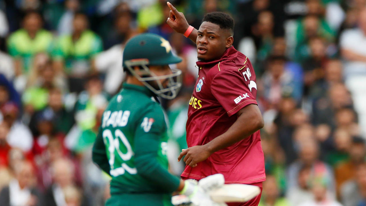 None of the Pakistani batsmen were able to impose themselves on the game as the Windies continued with their short ball attack. Oshane Thomas sent back Shadab Khan for a golden duck in the 18th over. Holder then got Hasan Ali caught out in the next over reducing Pakistan to 81/8. (Image: Reuters)