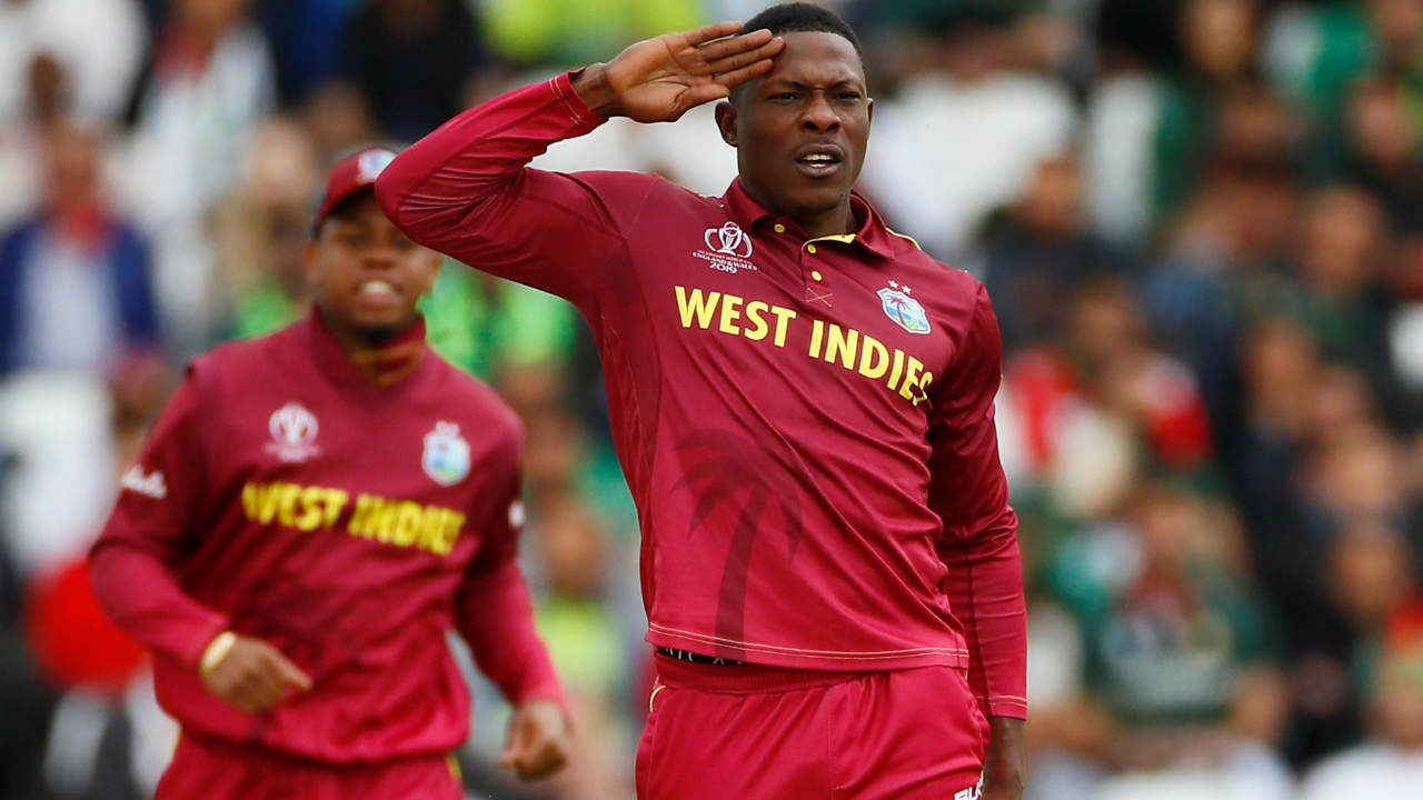 Windies got off to a great start as Sheldon Cottrell got Imam-ul-Haq caught behind in just the 3rd over. Things got worse for Pakistan when Andre Russell entered the attack in the 6th over and got rid of Fakhar Zaman. Russell sent down a pacy bouncer which hit Zaman's helmet before crashing into the stumps. (Image: Reuters)