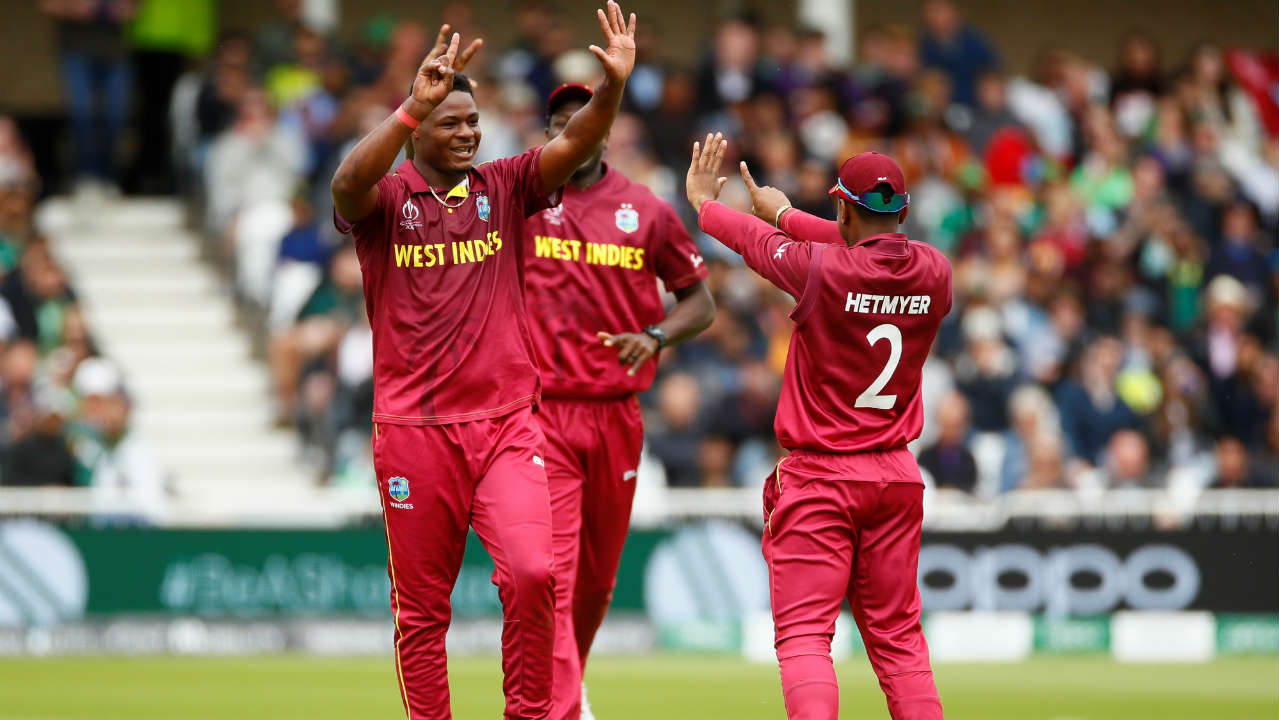 Oshane Thomas picked up his third wicket of the game when he got rid of Mohammad Hafeez in the 20th over. Once again it was the short ball which did the trick as Hafeez went for the pull but only top-edged the ball to Cottrell at long leg. (Image: Reuters)